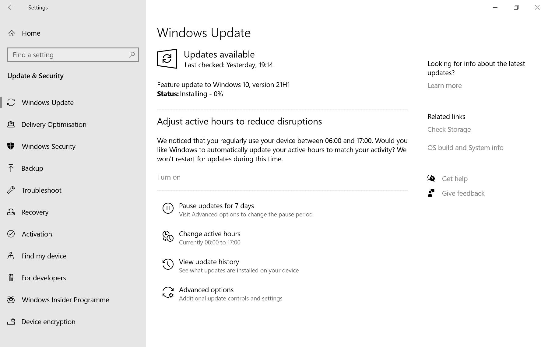 windows 10 version 21h1 installation