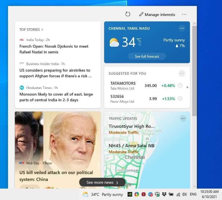 How to disable the Weather widget from the Windows 10 Taskbar