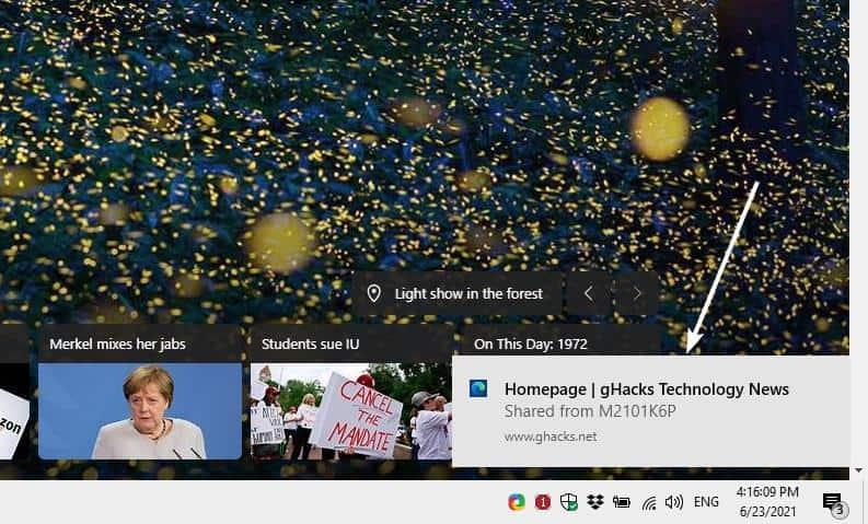 Microsoft Edge Tab Sharing notification