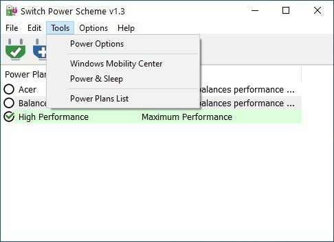 Switch Power Scheme - tools menu