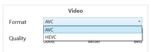 Tricycle video converter - set video encoding type