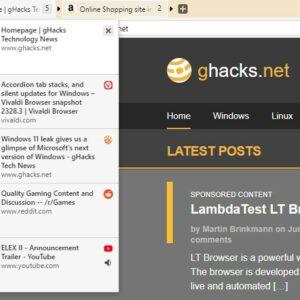 Vivaldi Snapshot 2328.3 introduces Accordion Tab Stacking and Silent Updates