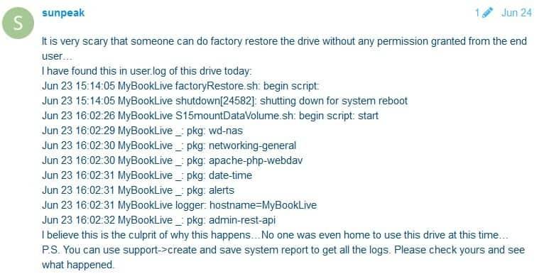 Western Digital My Book Live log