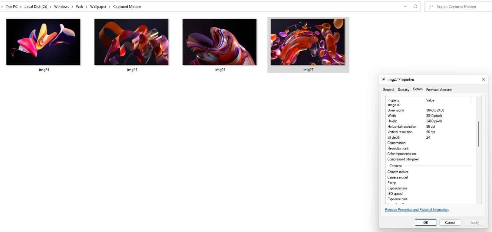Windows 11 wallpapers - captured motion folder
