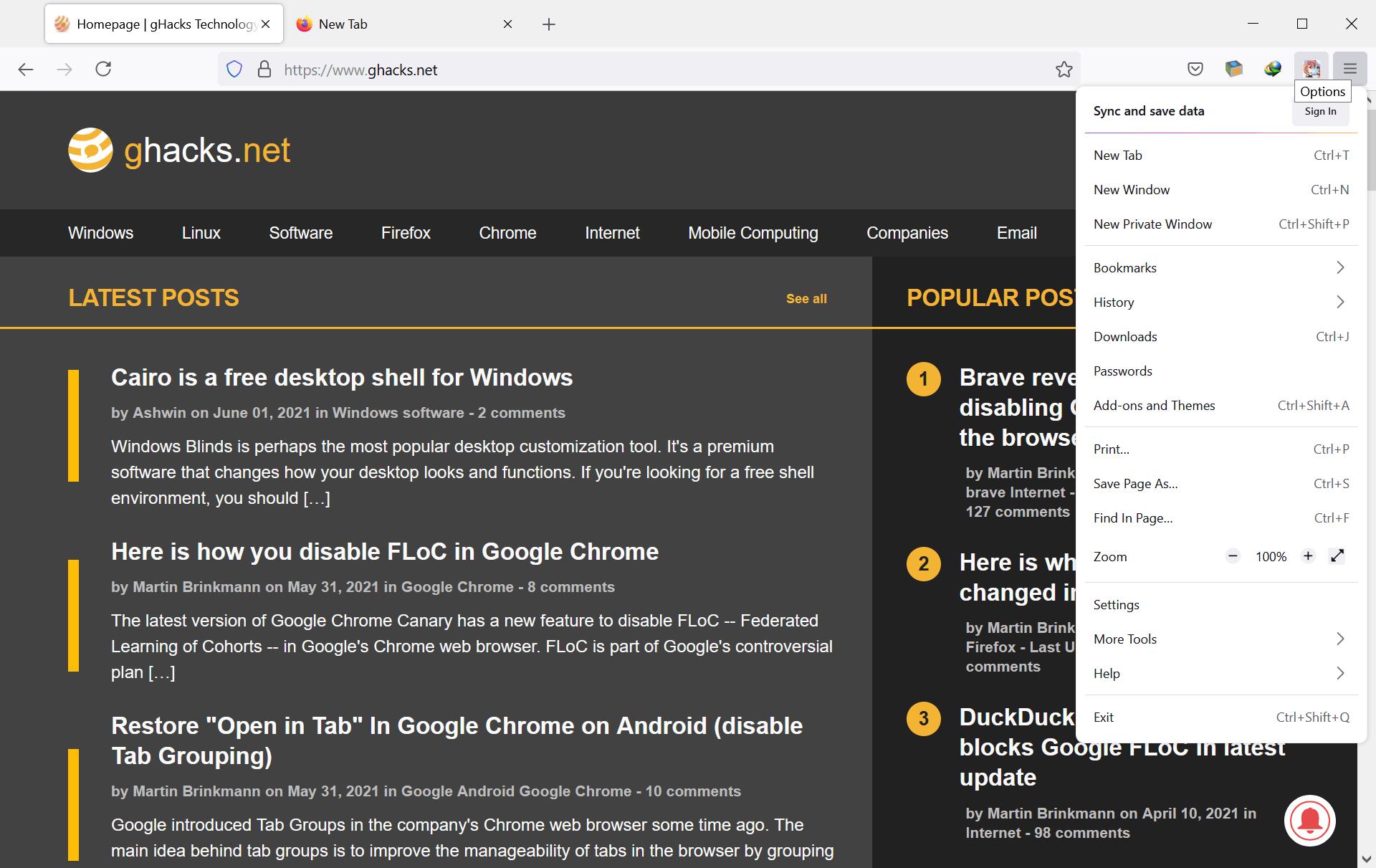 Firefox new user interface