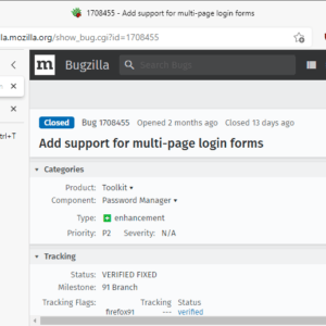firefox support multi page login forms