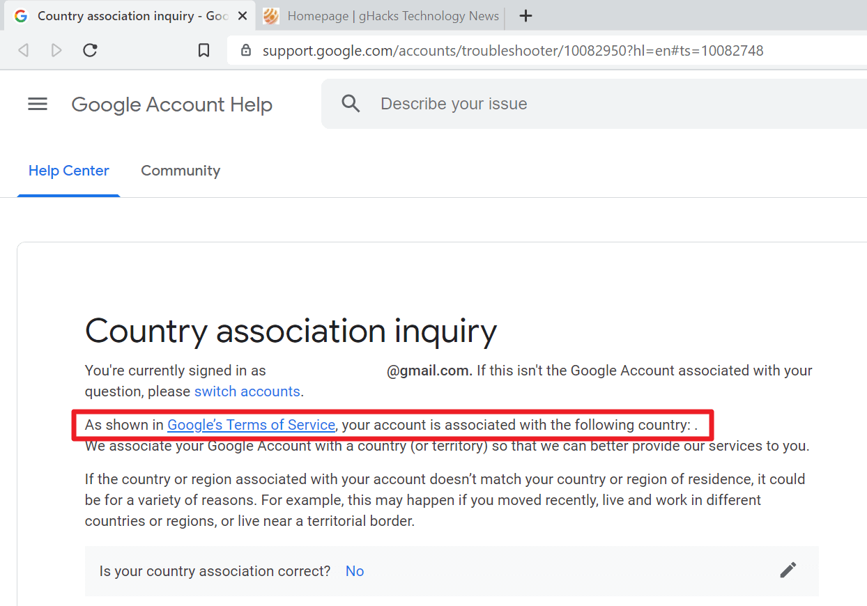 google associated country