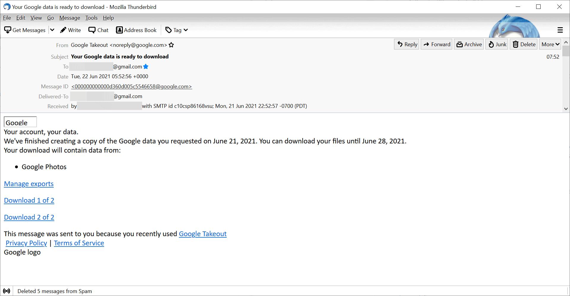 google photos export email