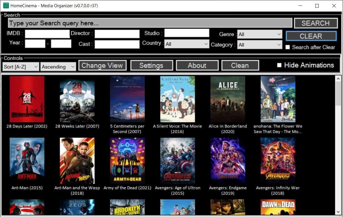 homecinema movie cataloging