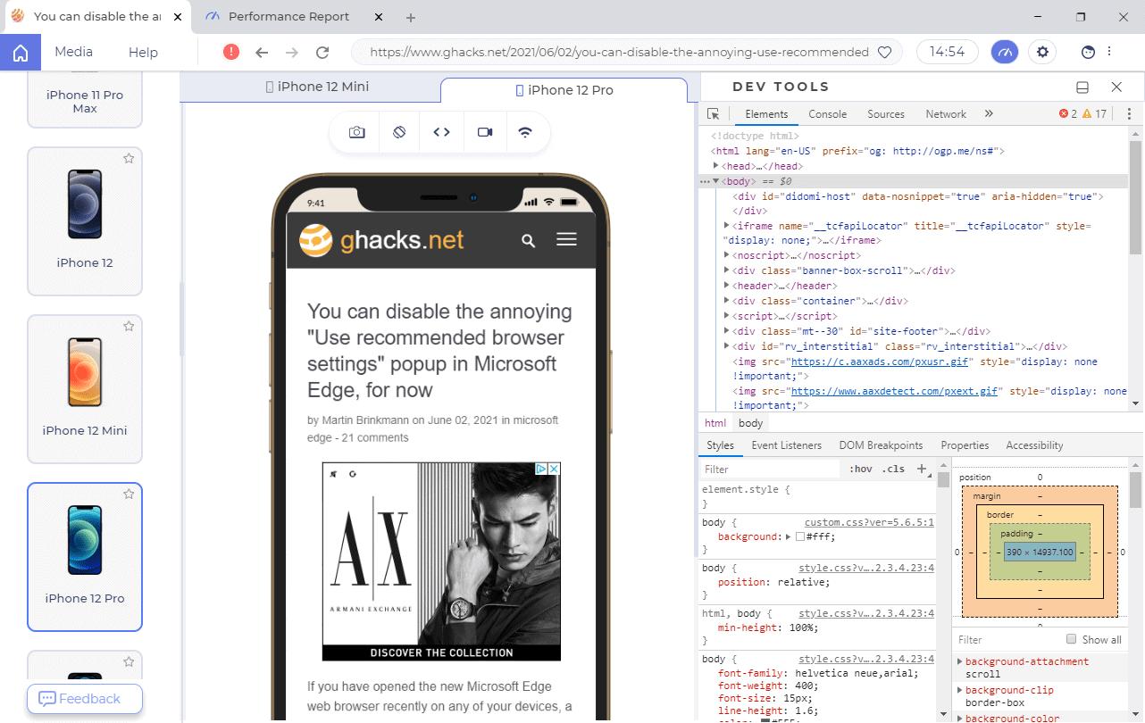 lambda browser debug