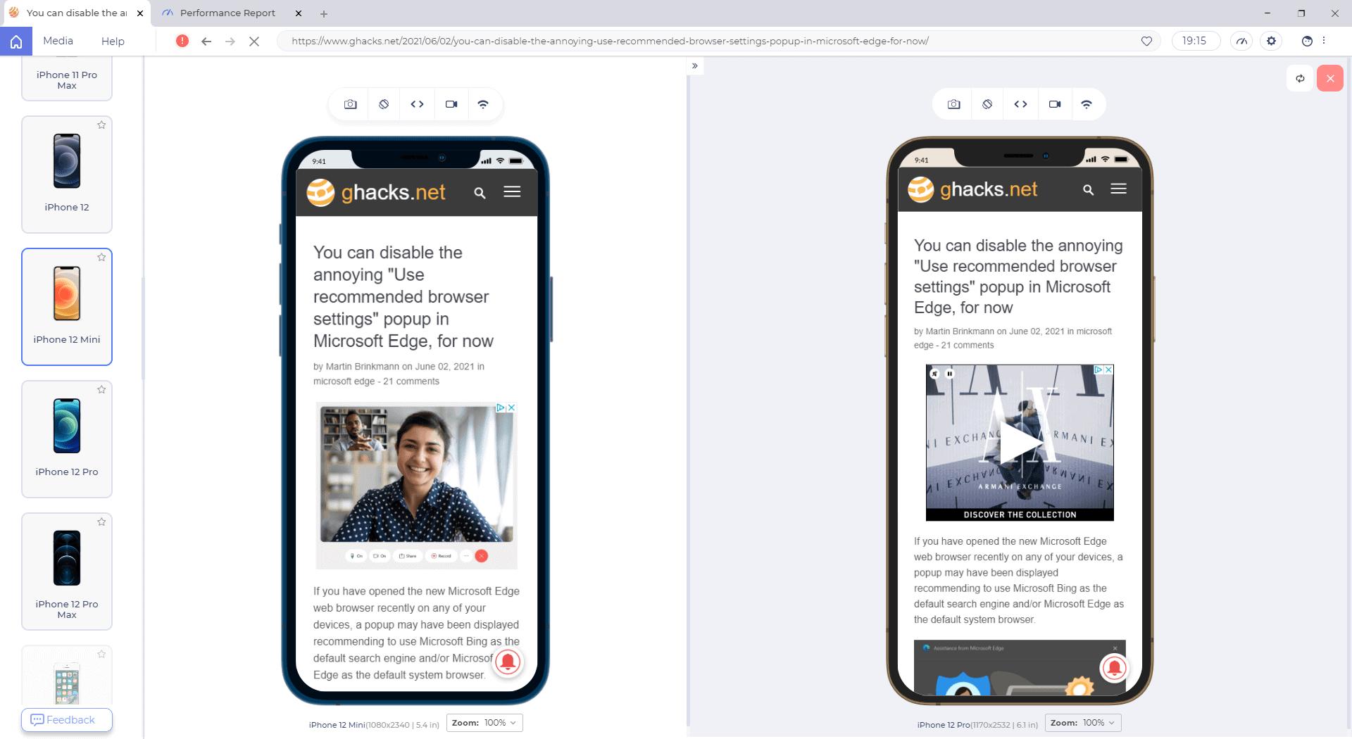 lambda test browser side by side