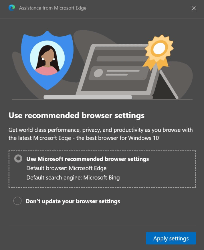 microsoft edge-recommended browser settings