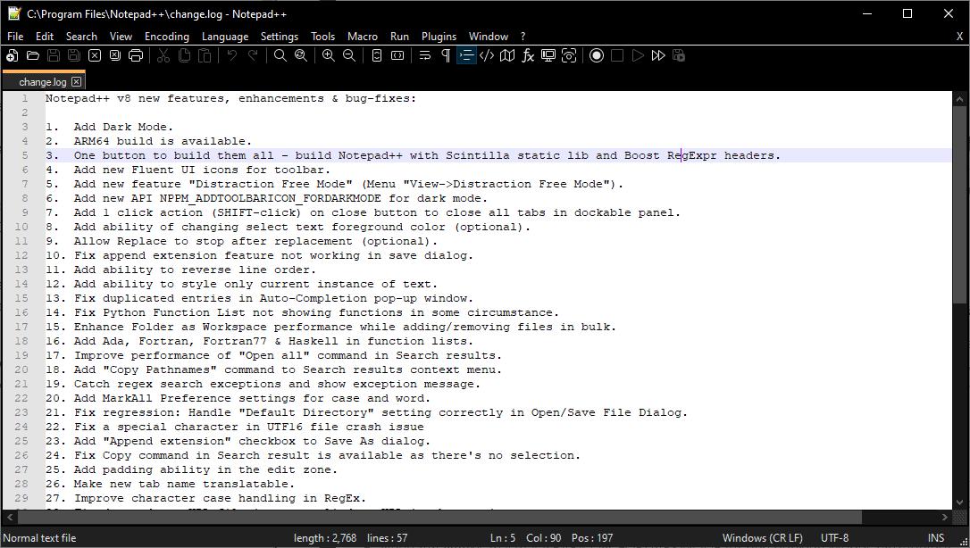 notepad 80 dark mode