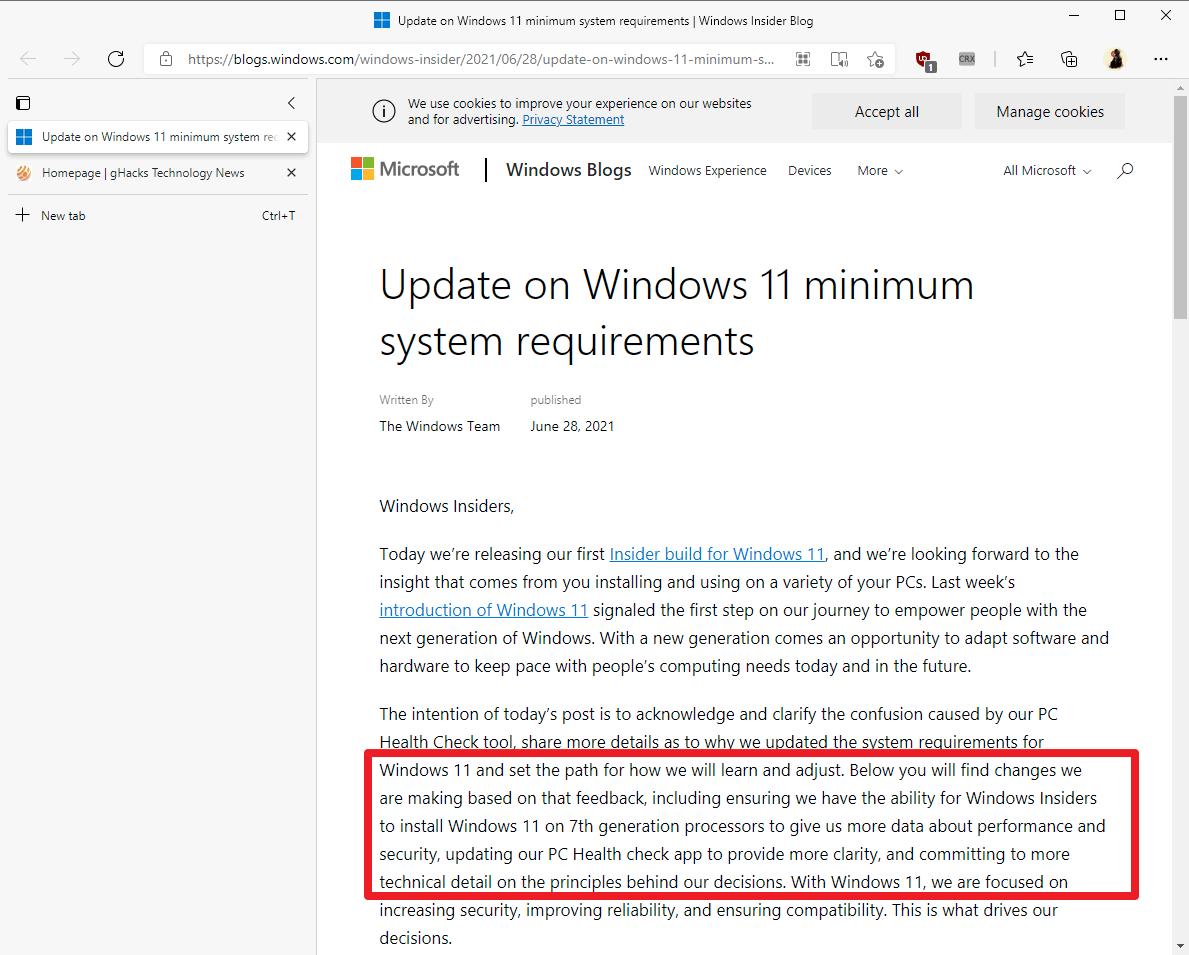 Microsoft may adjust Windows 11 minimum system requirements