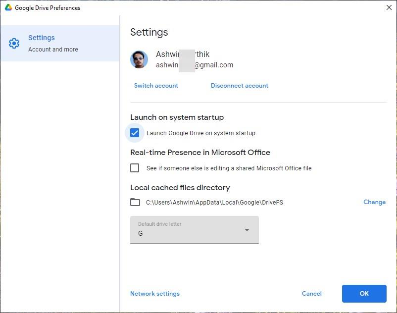 Drive for Desktop settings