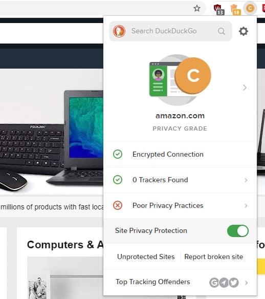 DuckDuckGO Privacy Essentials Chrome Extension