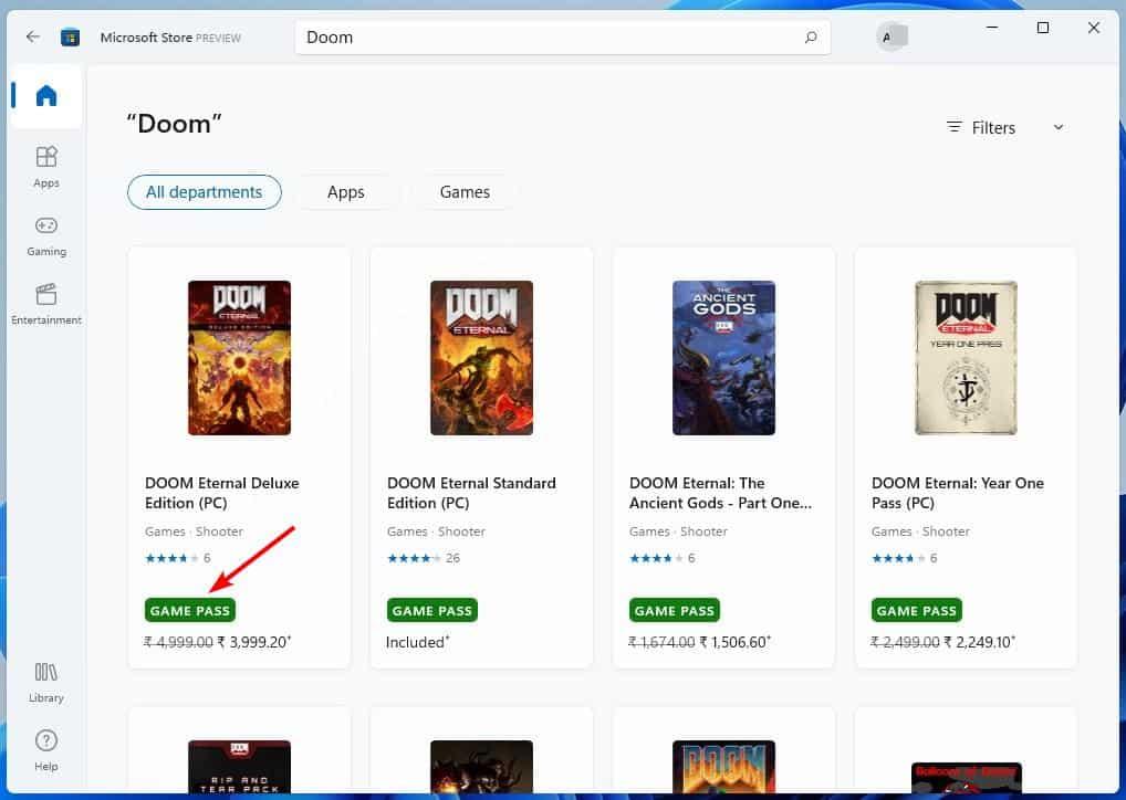 Microsoft Store app in Windows 11 - Xbox gamepass banner
