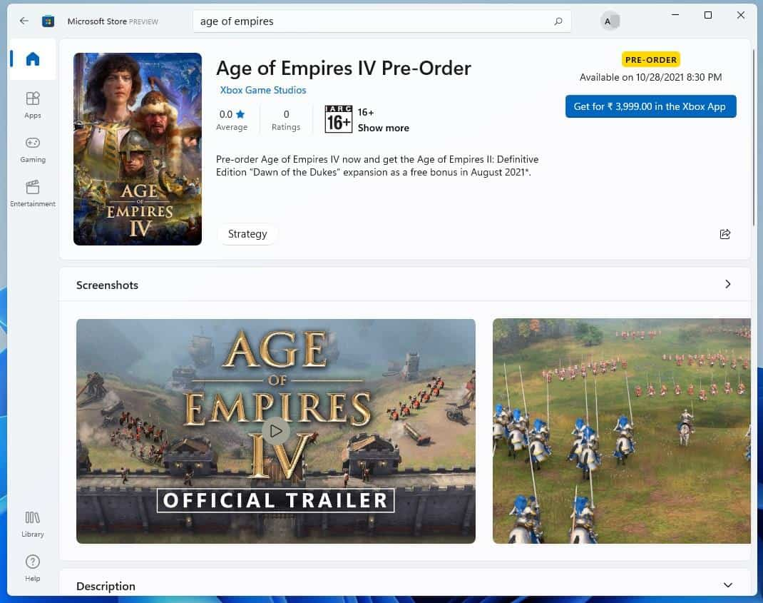 Microsoft Store app in Windows 11 - app listing