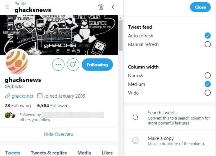 TweetDeck Preview new column options