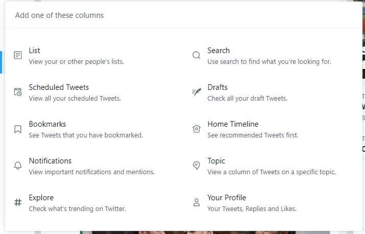 TweetDeck Preview new columns