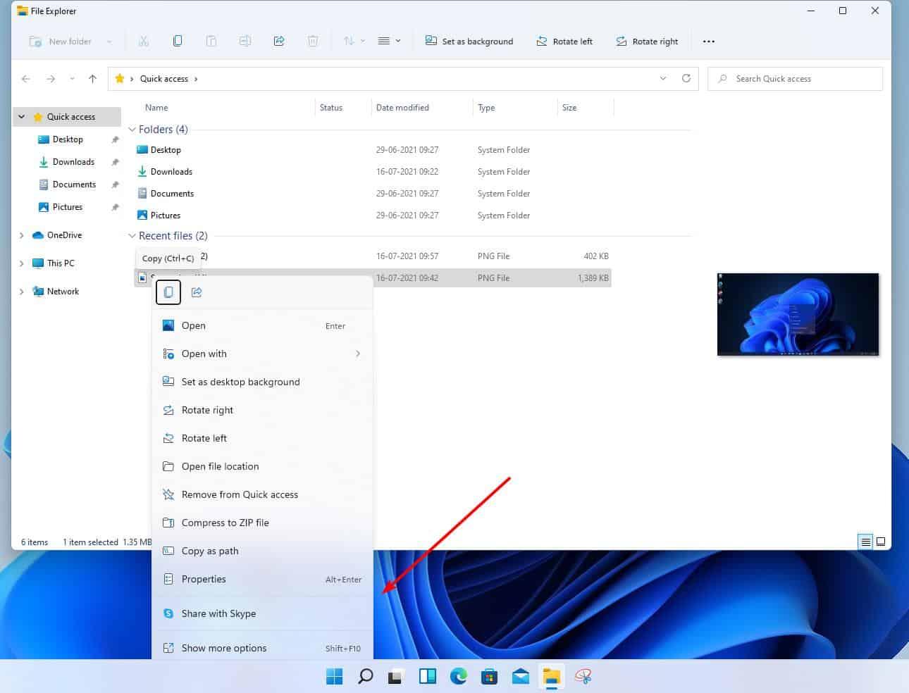 Windows 11 Insider Preview Build 22000.71 - acrylic menu in Explorer