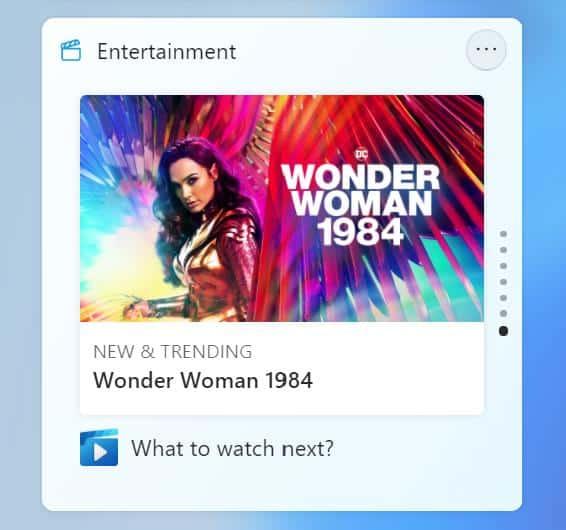 Windows 11 Insider Preview Build 22000.71 - entertainment widget