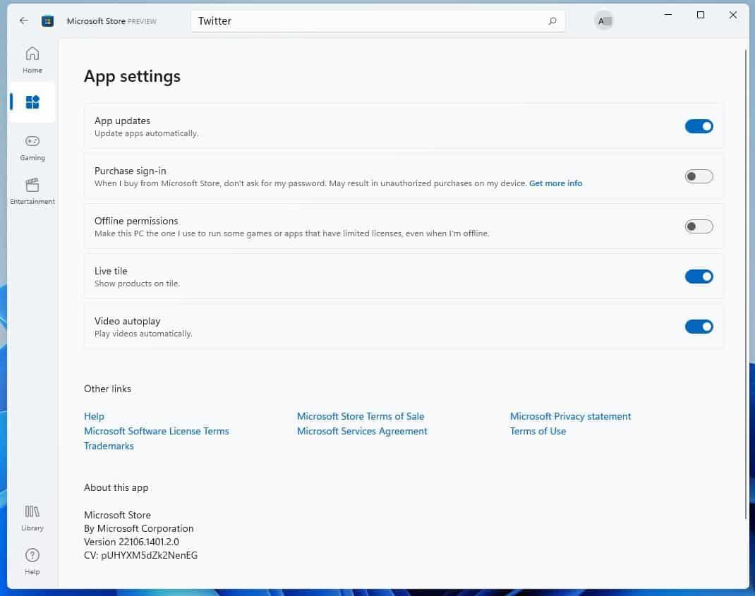 Windows 11 Microsoft Store app - Settings