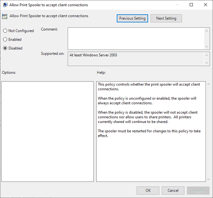 allow print spooler to accept client connections