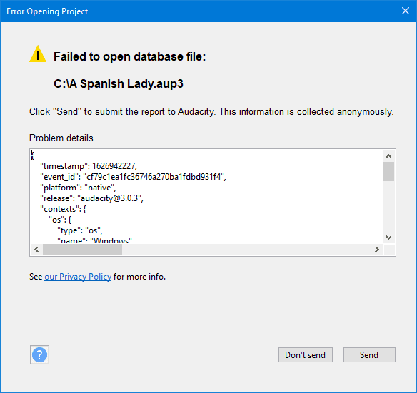 audacity error reporting