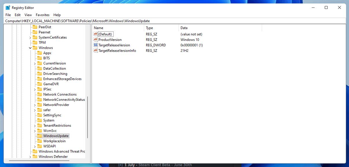 block windows 11 upgrade registry