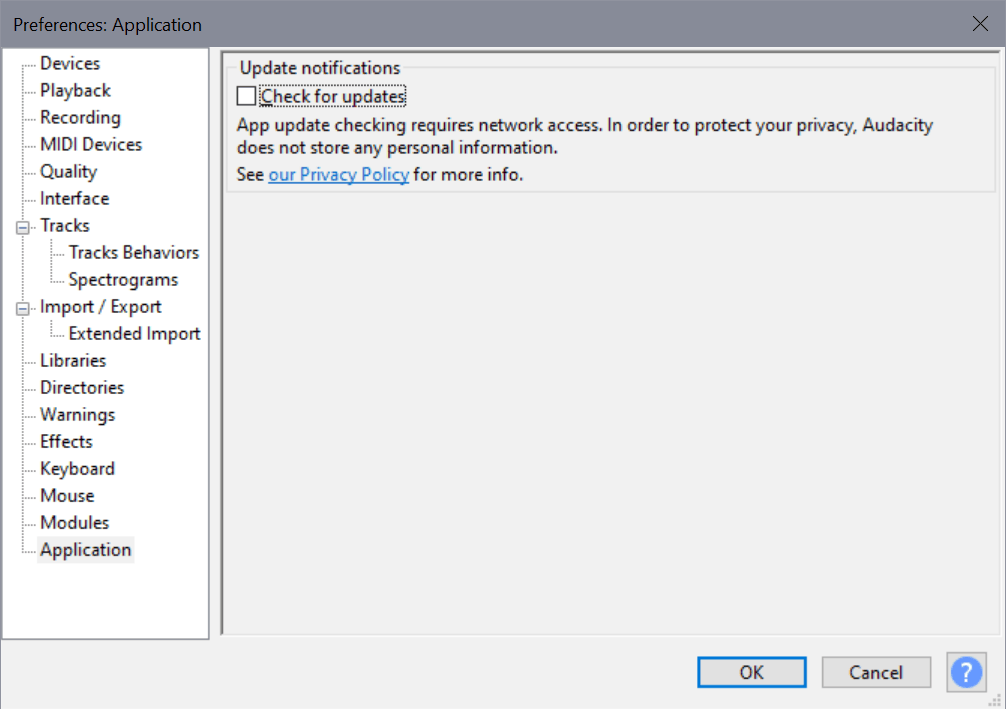 disable update checking audacity