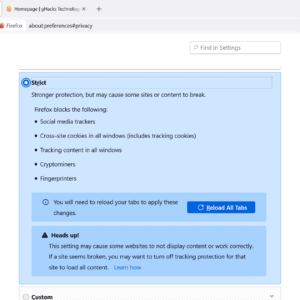 firefox strict tracking protection