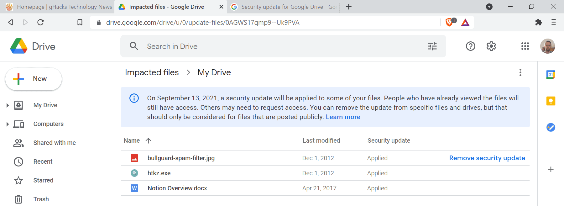 google drive impacted files