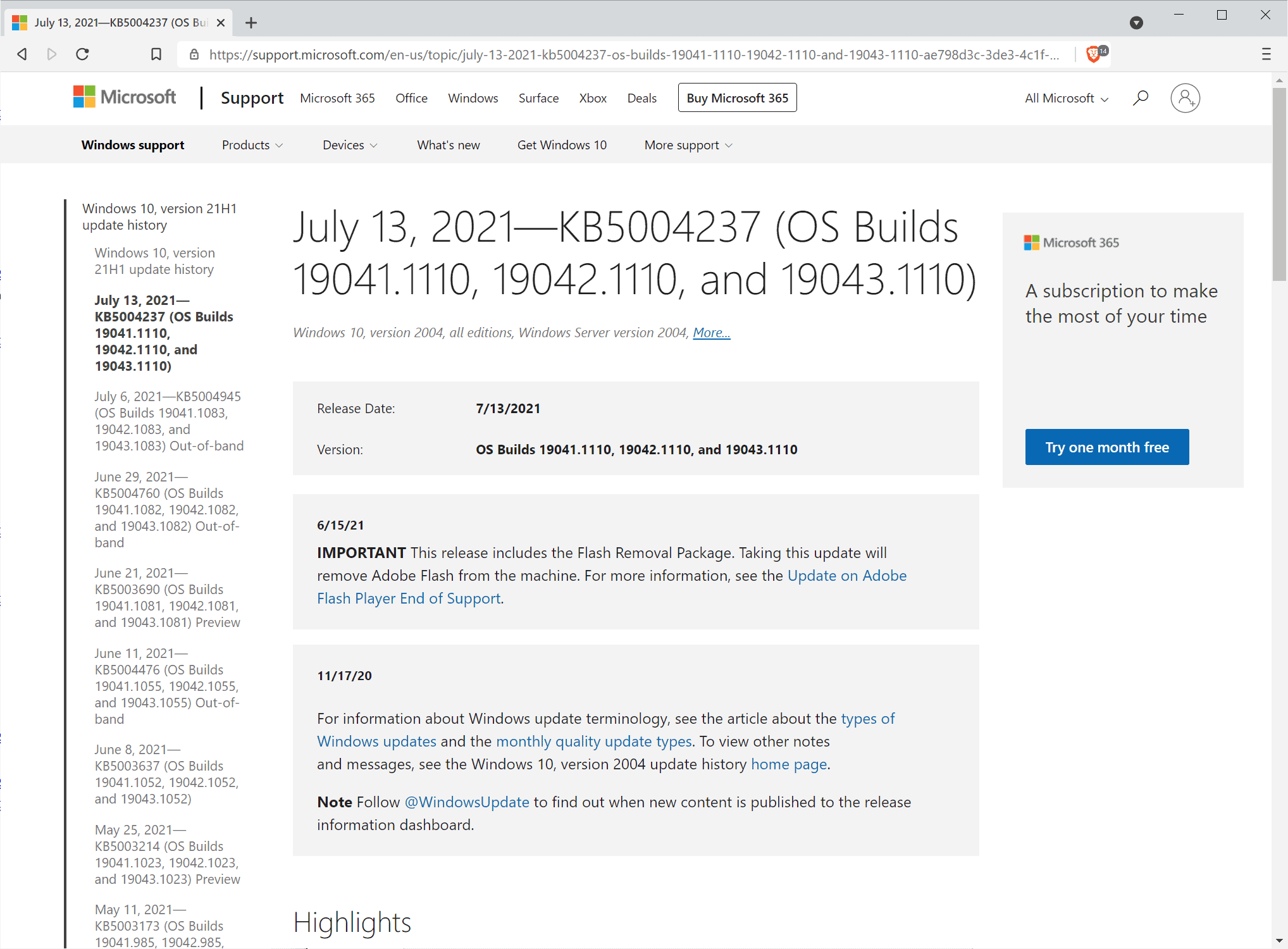 microsoft windows security updates july 2021