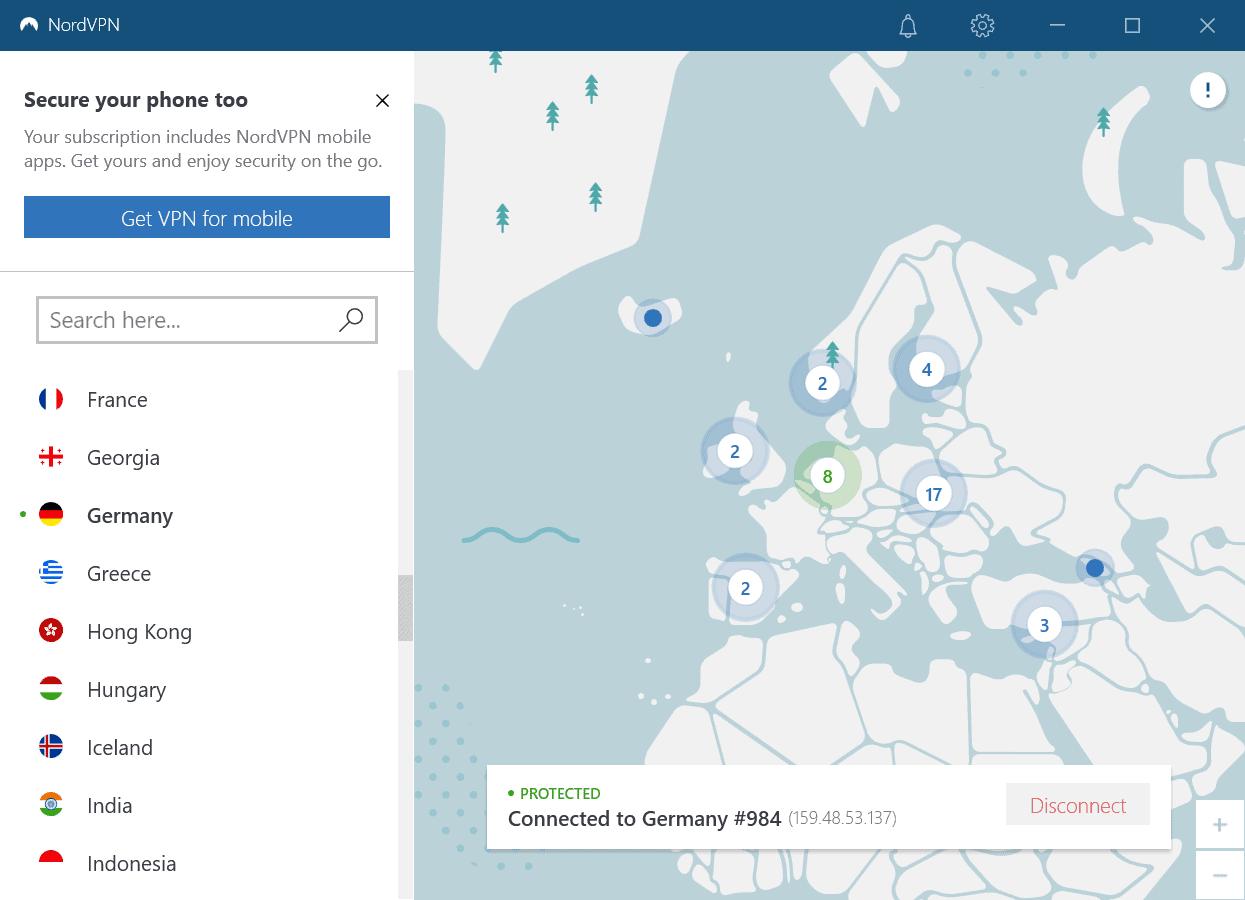 nordvpn interface