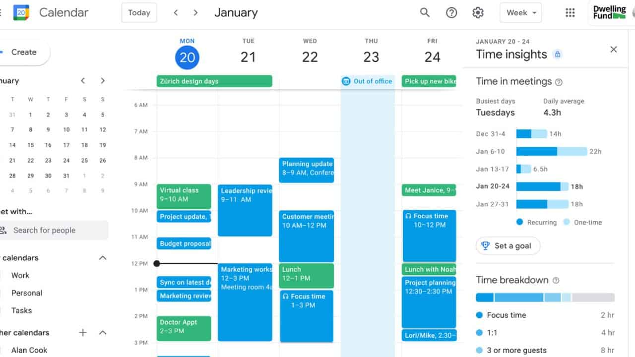 The new Time Insights feature on Google Calendar