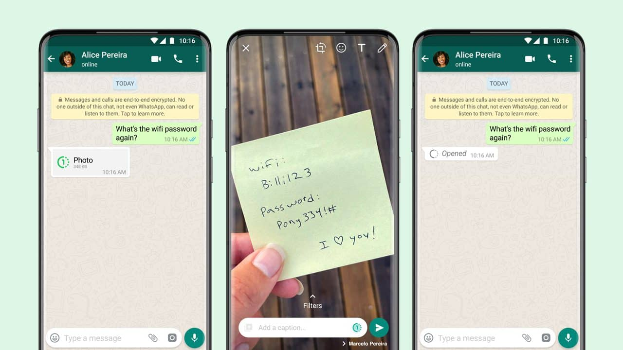 WhatsApp's View Once message feature has arrived