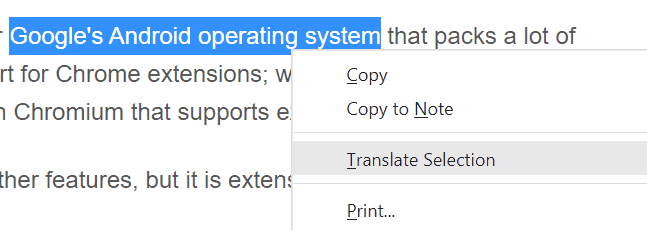 vivaldi browser translate selection