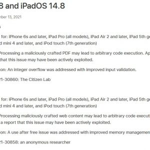 Apple iOS Security Update to prevent ForcedEntry exploit
