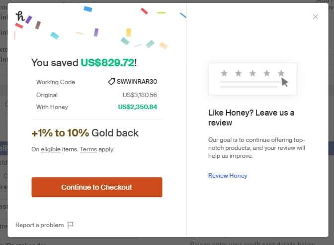 Honey applies the coupon code