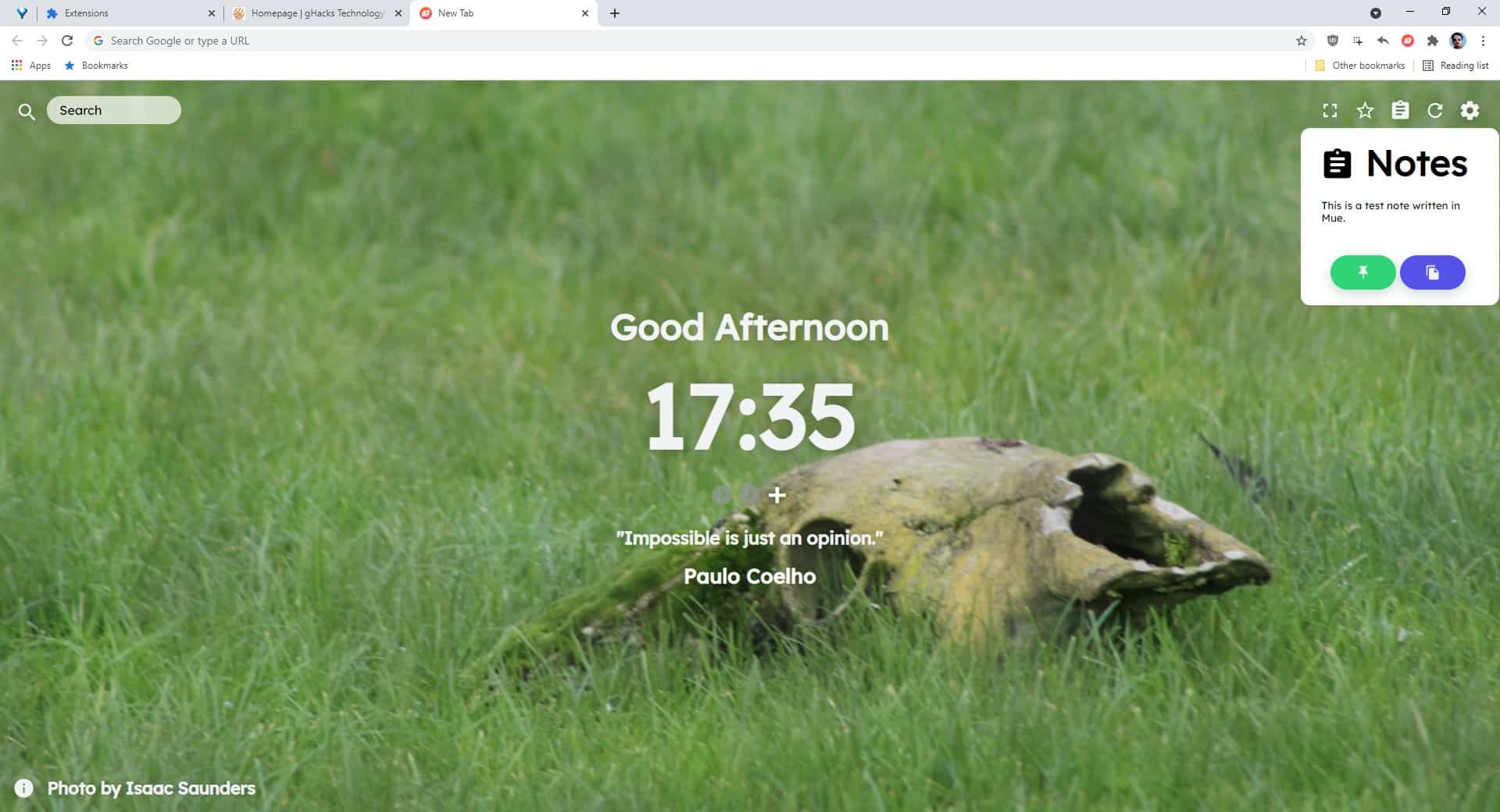 Mue Chrome Extension