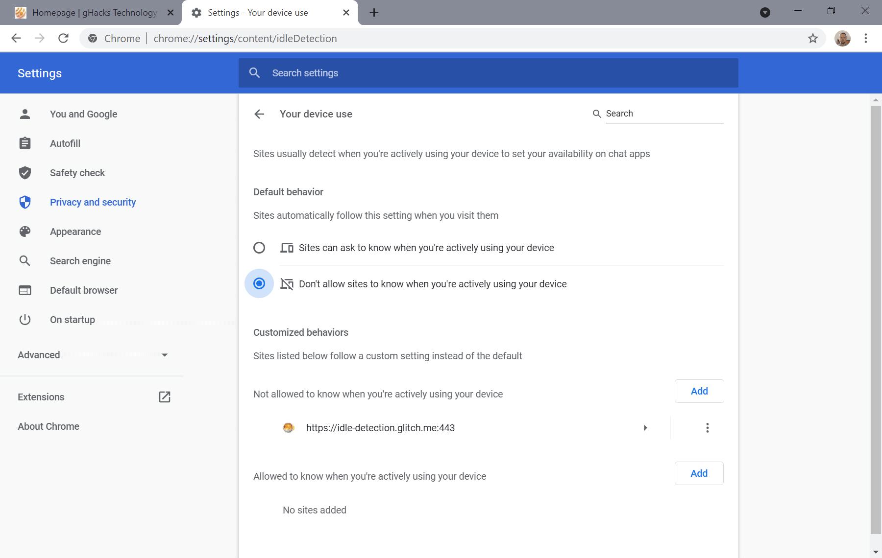 Chrome disabilita l'API di rilevamento inattivo
