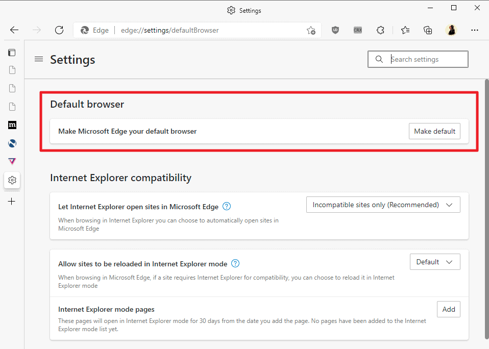 make edge default with one click