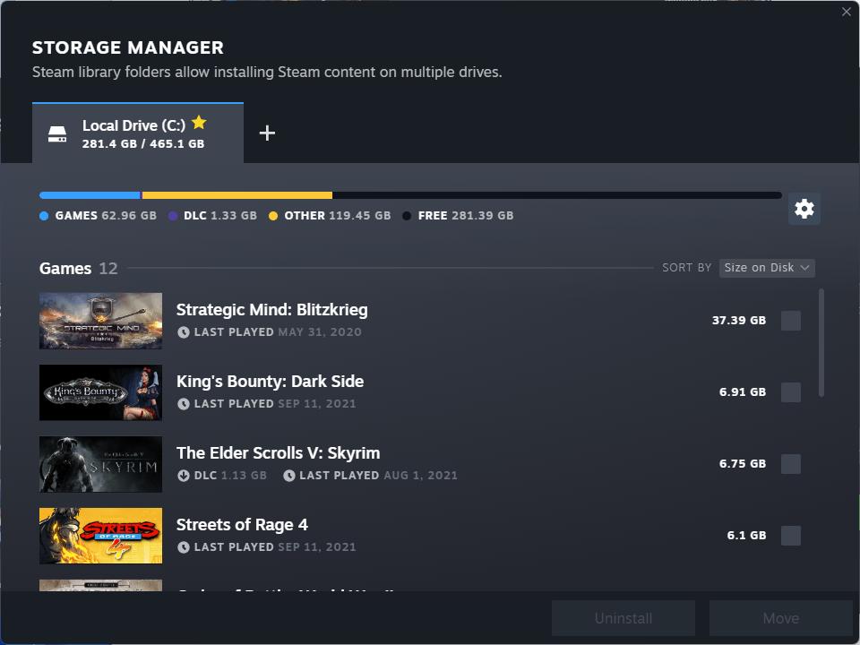 steam storage manager