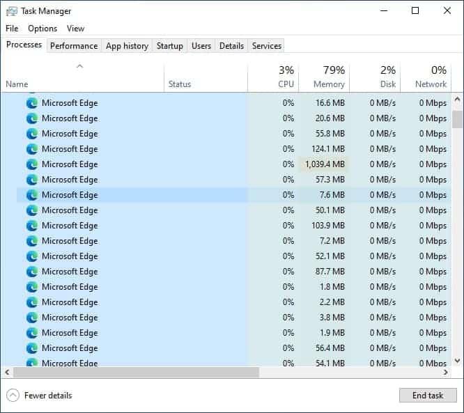 Windows 10 Microsoft Edge processes