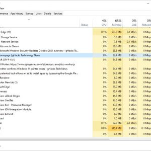 Windows 11's Task Manager now displays the site name, icon, tab title for Microsoft Edge processes