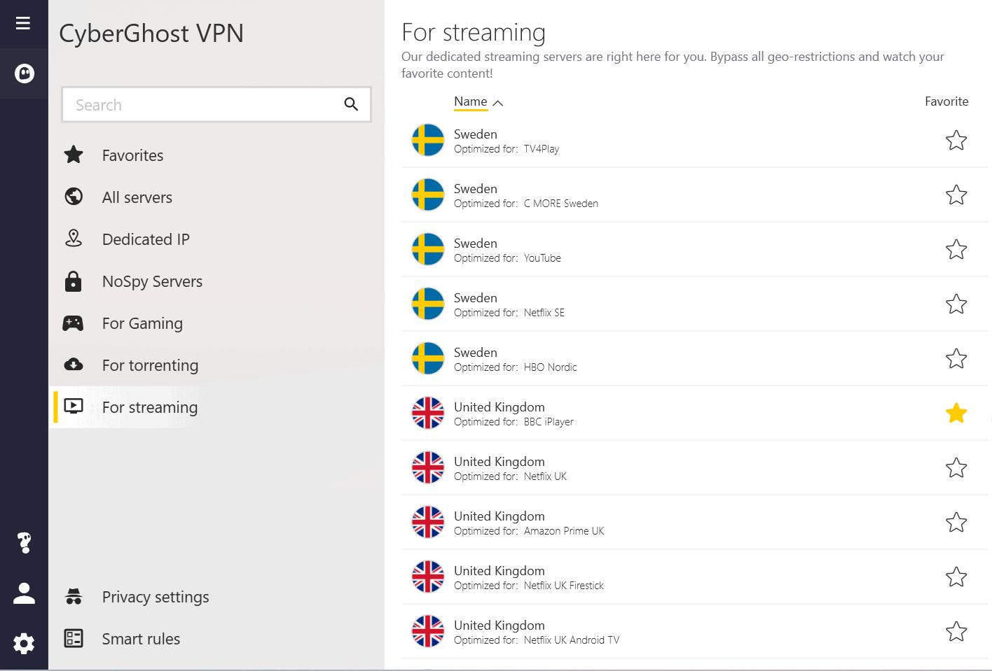 cyberghost streaming servers