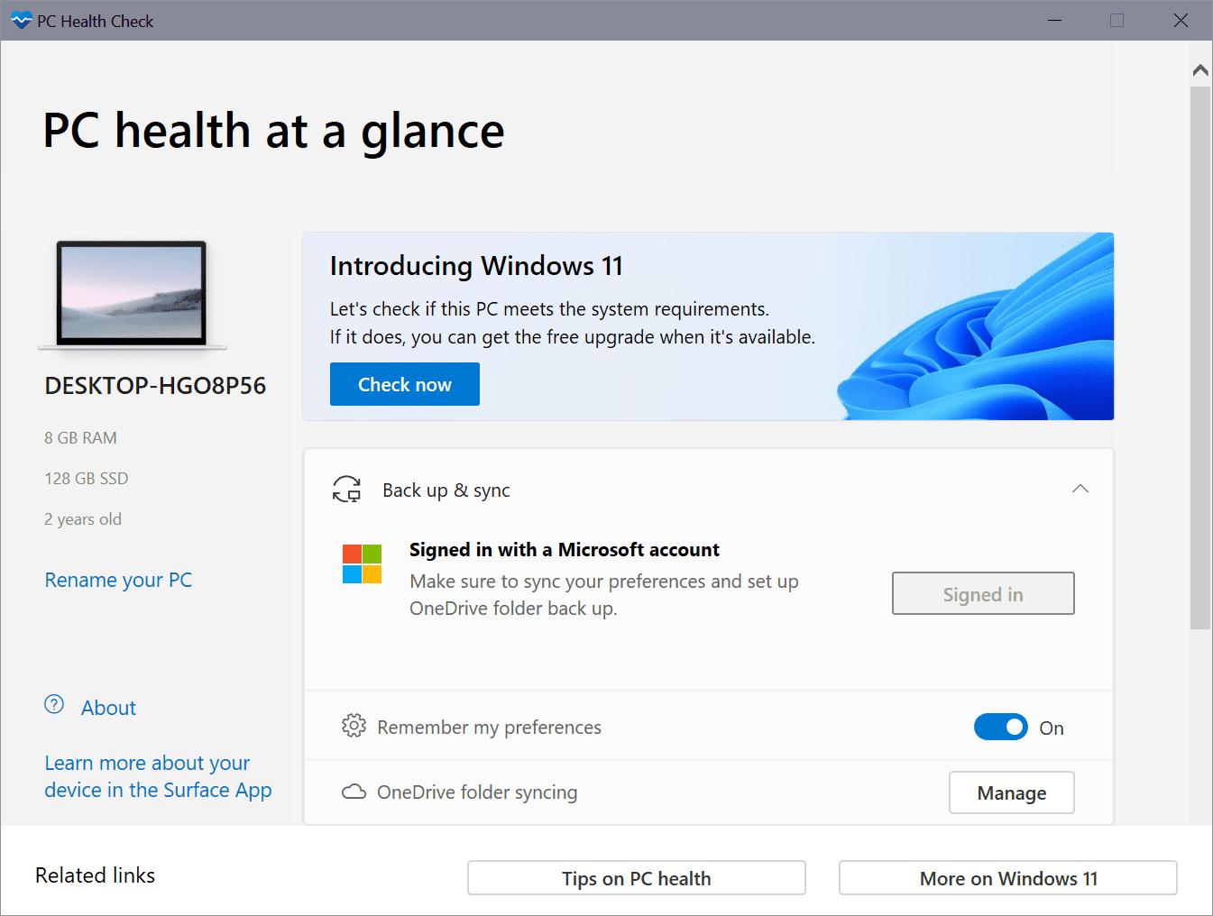pc-health check app windows 10