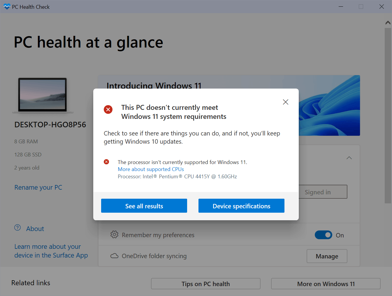 Windows 11 computer health check requirements