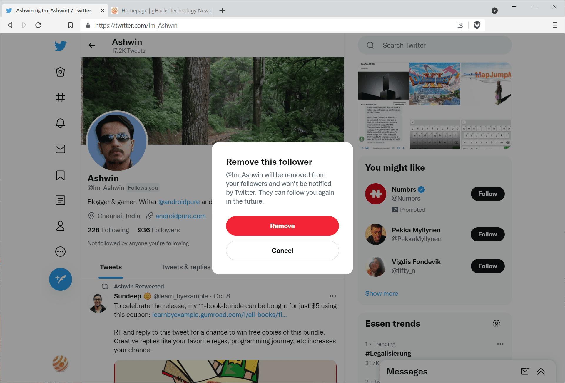 remove follower